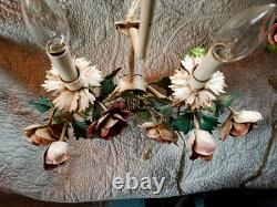 Vintage PAIR Italian TOLE SCONCES LAMPS Floral POPPIES w Shades Gorgeous
