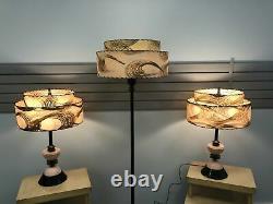 Vintage PINK LAMP SET w Two Tier Fiberglass Shade mid century modern Table Floor