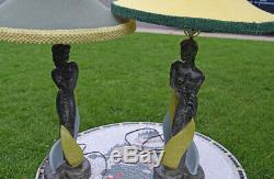 Vintage Pair 1950 REGLOR of CALIFORNIA lamp Original shades Man Woman Tiki nude
