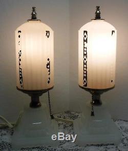 Vintage Pair Art Deco Milk Glass Shade Bullet Table Or Boudoir Vanity Lamps