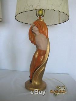 Vintage Pair CHALKWARE LAMPS Majestic Dancers with Shades