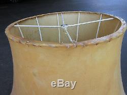 Vintage Pair Collectible Foss Seamless Lamb Skin Rawhide Lamp Shades 22bx12tx14h
