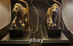 Vintage Pair Figural Bronze Metal Lion Lamp Shade Pedestal Table Lamps Lions