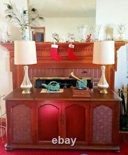 Vintage Pair Mid Century Quartite Creative Genie Bottle Table Lamp Orig. Shades