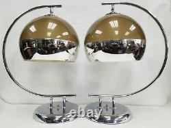 Vintage Pair Set MCM Mid Century Majestic Chrome Table Lamp 1960s Smoke Shade