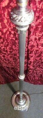 Vintage Pair Torchiere Lamps Ornate Height Adjust Floor Lights Original Shades