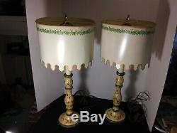 Vintage Pair of French Country Wood Candlestick and Metal Tole Shade Lamps