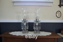 Vintage Pair of Luster Table Lamps, 5 Crystals, Crystal Etched Hurricane Shades