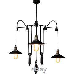 Vintage Pulley Adjustable Hanging Ceiling Light 3 Way Mirror Lamp Shade Loft