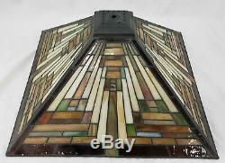 Vintage Quoizel 16-7/8 Stained/leaded Glass Art Deco Lamp Shade, Tiffany Style