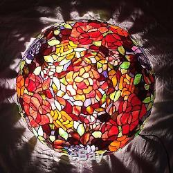 Vintage Quoizel Tiffany Style Flower Bouquet Stained Glass