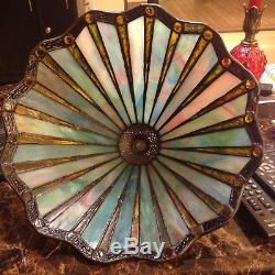 Vintage Quoizel Tiffany Style Stained Slag Glass Matching Lamp Shades (2) 14