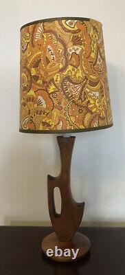 Vintage RETRO free form TEAK MID CENTURY MODERNIST EAMES ERA lamp original SHADE