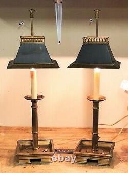 Vintage Ralph Lauren Brass Bouillotte Lamp Pair with Adjustable Black Tole Shade