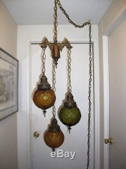 Vintage Retro Gothic 3 Light Triple Hanging Swag Lamp
