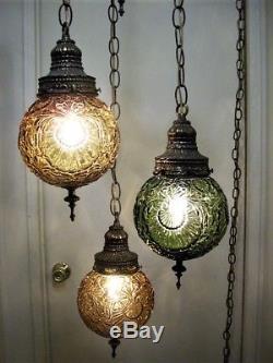 Vintage retro gothic 3 light triple hanging swag lamp green vintage retro gothic 3 light triple hanging swag lamp green amber shades aloadofball Images