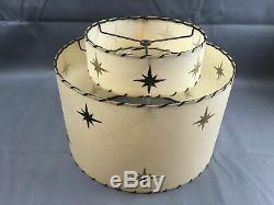 Vintage Retro Mid Century 2 Tier Fiberglass Lamp Shade w Stars