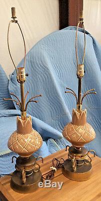 Vintage/Retro Pr Table Lamps c1950s Mid Modern Style Double Fiberglass Shades