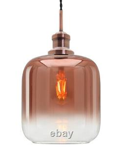 Vintage Rose Gold Glass Copper Shade Pendant Ceiling Light Chandelier M0201