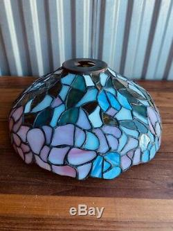 Vintage Round Purple Tiffany Style Stained Leaded Slag Glass Lamp Shade 13.5