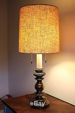 Vintage Stiffel Lamps Pair Brass Candlestick Double Socket