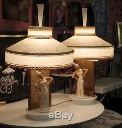 Vintage Set Moss Bali Dancer Spinner Lamps Lucite Parchment Shade ...