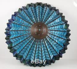Vintage Slag Glass Lamp Shade Leaded Glass Blue Pleated Design for Table Lamp