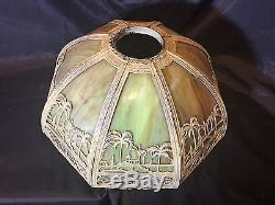 Vintage Slag Glass Lamp Shade Oasis Palm Trees