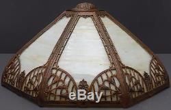 Vintage Slag Glass Metal Overlay Ornate Lamp Shade Art Deco Nouveau 8 Panel 17