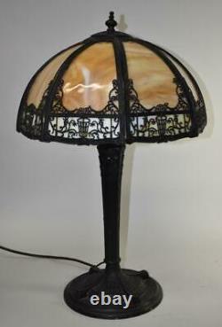 Vintage Slag Glass Panel Lamp 15 Shade