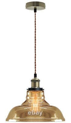 Vintage Smoked Gold Glass Shade Chandelier Pendant Ceiling Pub Diner Light M0083