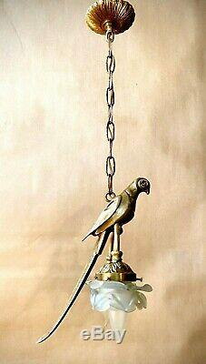 Vintage Solid Brass Parrot Pendant Lamp Chandelier with two flower petal shades