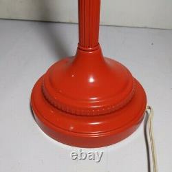 Vintage Space Age Red Enameled Metal Table Lamp Wicker Shade Mid Century Modern