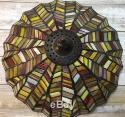 Vintage Stained Glass Tiffany Style Lamp Shade Geometric Red Amber Fall 10.5