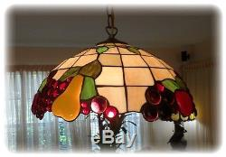 Vintage Stained Leaded Glass Fruit Lamp Shade Light Fixture Chandelier