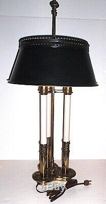 Vintage-Stiffel Brass French Bouilloutte Candlestick Table 3-way Lamp Tole Shade