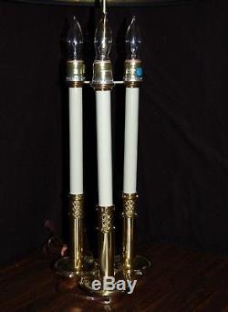 Vintage Stiffel Solid Brass Bouillotte 3 Way Candlestick Desk