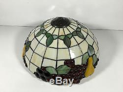 Vintage TIFFANY STYLE Stained Leaded Glass Fruit Lamp Shade Light Fixture 16