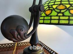 Vintage Tiffany Studios 10 Acorn Shade & Base Counterweight Desk Lamp #417