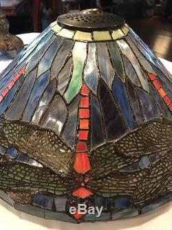 Vintage Tiffany Style Leaded / Stained Glass Mosaic Lampshade with Dragonflies