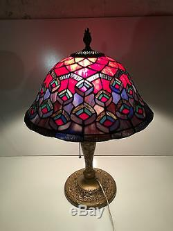 Vintage tiffany style leaded stained glass table lamp shade home vintage tiffany style leaded stained glass table lamp shade home decor works mozeypictures Choice Image