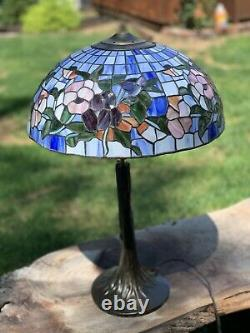 Vintage Tiffany Style Mosaic Stained Glass Lamp