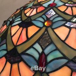Vintage Tiffany Style Peacock Feather Design Large Stained Glass Lamp Shade Only