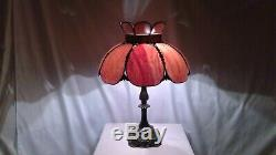 Vintage Tiffany Style Slag Tulip Stained Glass Shade on Ornate Metal Base Lamp