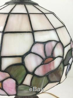 Vintage Tiffany Style Stained Glass Brass Lamp Shade Floral Flower MSRP $135