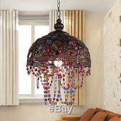 Full Image for Tiffany Style Floral Stained Slag Glass Lamp Shade Purple  Pink Blue Violet 12 ...