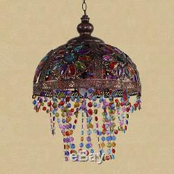 Vintage tiffany style stained glass chandelier lamp shade hanging vintage tiffany style stained glass chandelier lamp shade hanging light fixture aloadofball Images