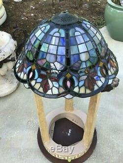 Vintage Tiffany Style Stained Glass Lamp Shade Jeweled 16