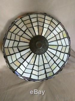 Vintage Tiffany Style Stained Glass Lamp Shade Peacock Feather Design  Cream/purp
