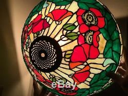 Vintage Tiffany-style Leaded Stained Glass Lamp Shade Art Nouveau Gorgeous 16.5